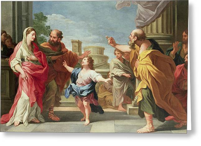Christ Child Greeting Cards - Christ Preaching in the Temple Greeting Card by Ludovico Gimignani