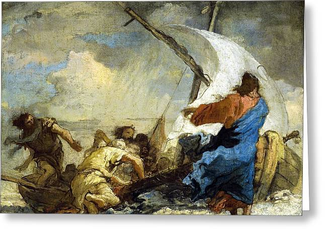 Boats On Water Greeting Cards - Christ Stills theTempest Greeting Card by Giovanni Domenico Tiepolo