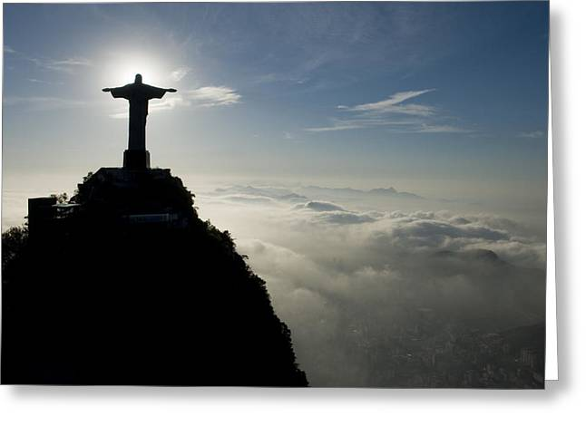 Jesus In Clouds Greeting Cards - Christ The Redeemer Statue At Sunrise Greeting Card by Joel Sartore