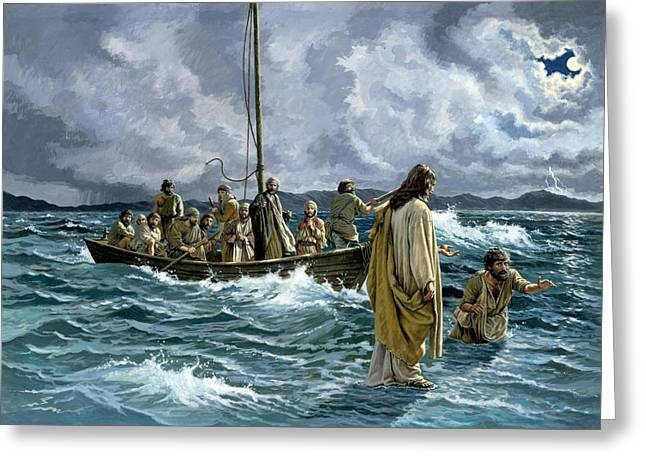 Christ Paintings Greeting Cards - Christ walking on the Sea of Galilee Greeting Card by Anonymous