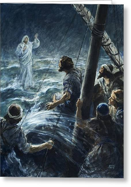 Walking On Water Greeting Cards - Christ walking on the sea of Galilee Greeting Card by Henry Coller