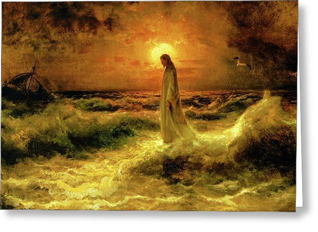 Printed Paintings Greeting Cards - Christ Walking On The Waters Greeting Card by Christ Images