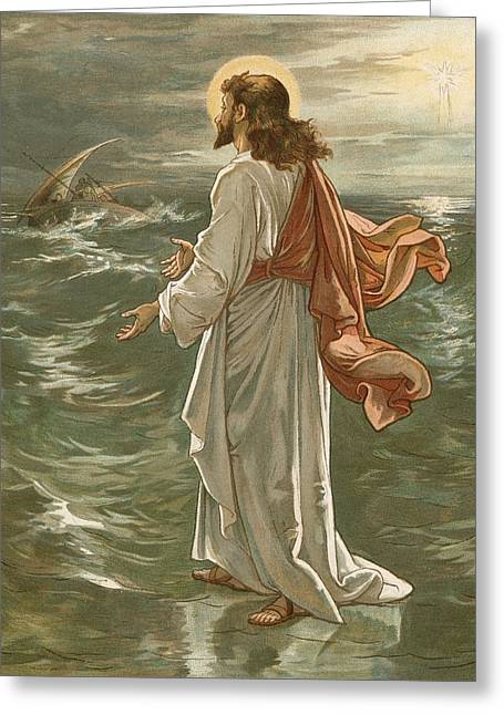 Christ Walking On Water Greeting Cards - Christ Walking on The Waters Greeting Card by John Lawson