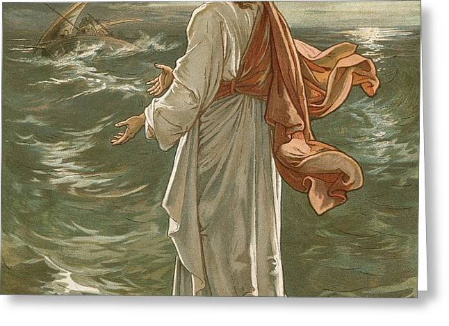 Christ Walking on The Waters Greeting Card by John Lawson