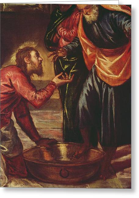 The Followers Greeting Cards - Christ Washing the Feet of the Disciples Greeting Card by Tintoretto