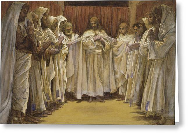Man Praying Greeting Cards - Christ with the twelve Apostles Greeting Card by Tissot