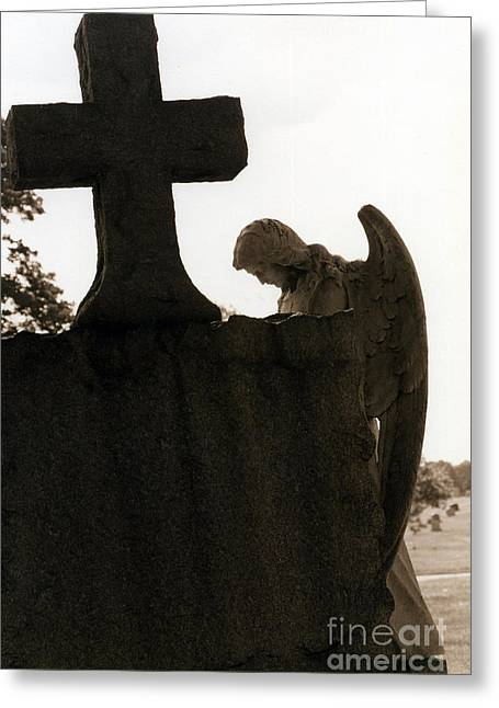 Religious Angel Art Greeting Cards - Christian Art - Angel At Grave With Large Cross Greeting Card by Kathy Fornal