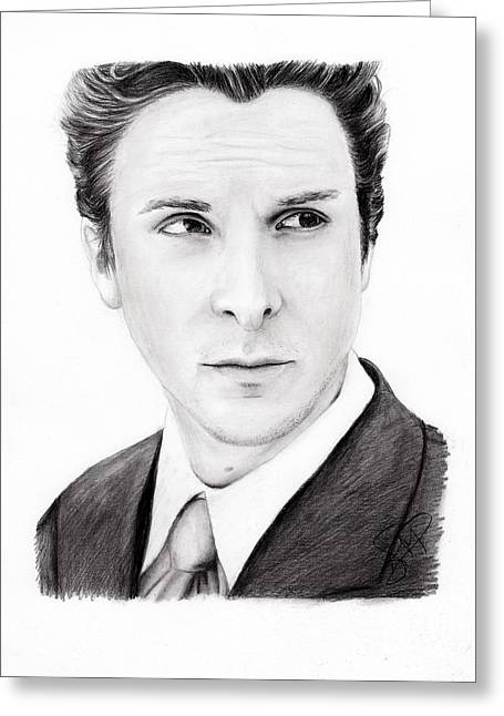Bale Drawings Greeting Cards - Christian Bale Greeting Card by Rosalinda Markle