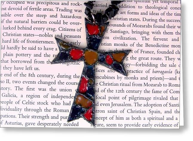 Christian  Cross Greeting Card by Cynthia Amaral