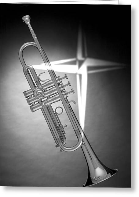 Christian Cross On Trumpet Greeting Card by M K  Miller