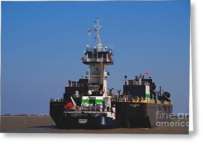 Galveston Greeting Cards - Christiana Oil Tanker sitting in Galveston TX Greeting Card by Susanne Van Hulst