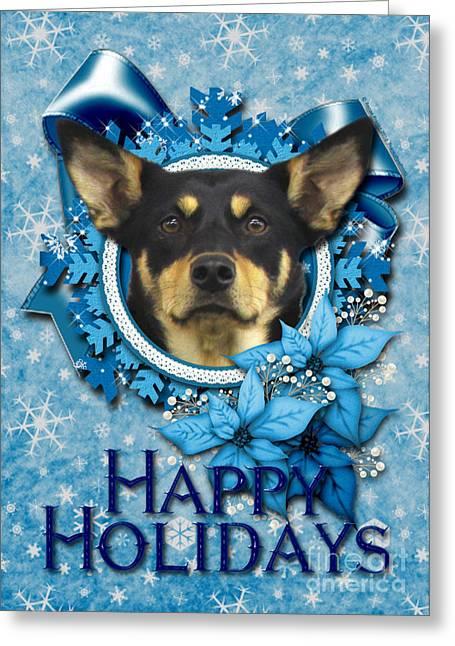 Australian Kelpie Greeting Cards - Christmas - Blue Snowflakes Australian Kelpie Greeting Card by Renae Laughner