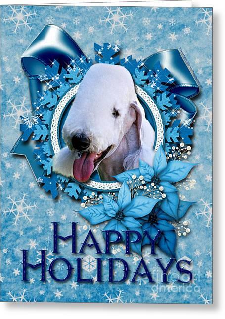 Snowflakes Greeting Cards - Christmas - Blue Snowflakes Bedlington Terrier Greeting Card by Renae Laughner