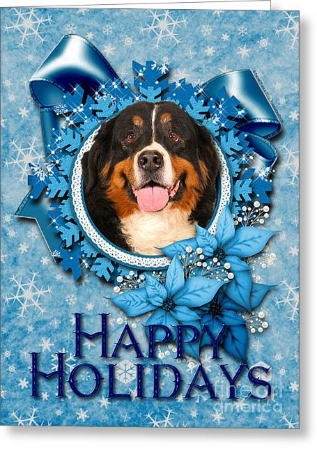 Xmas Greeting Cards - Christmas - Blue Snowflakes Bernese Mountain Dog Greeting Card by Renae Laughner