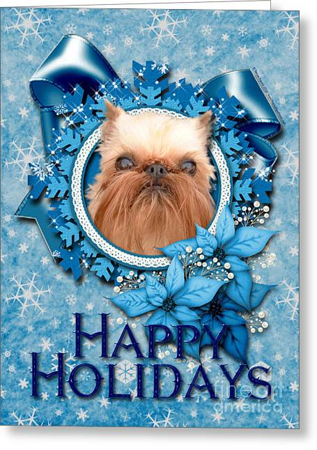 Canine Greeting Cards - Christmas - Blue Snowflakes Brussels Griffon Greeting Card by Renae Laughner