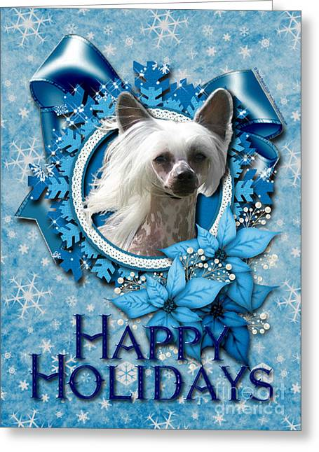 Dogs Digital Greeting Cards - Christmas - Blue Snowflakes Chinese Crested Greeting Card by Renae Laughner