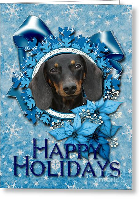 Doxie Greeting Cards - Christmas - Blue Snowflakes Dachshund Greeting Card by Renae Laughner