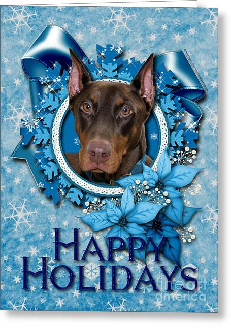 Doby Greeting Cards - Christmas - Blue Snowflakes Doberman Greeting Card by Renae Laughner