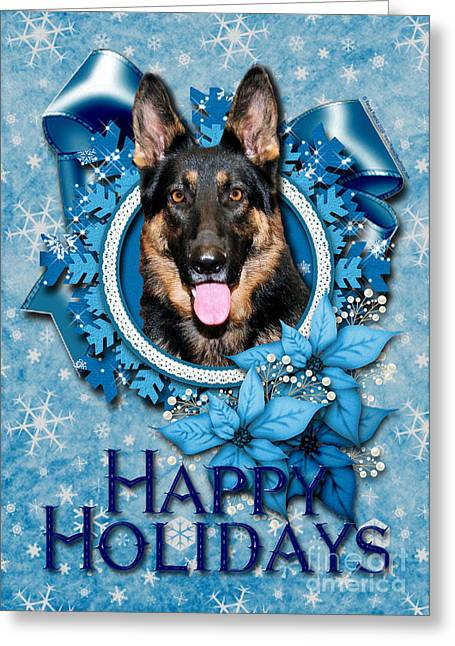 Canine Greeting Cards - Christmas - Blue Snowflakes German Shepherd Greeting Card by Renae Laughner