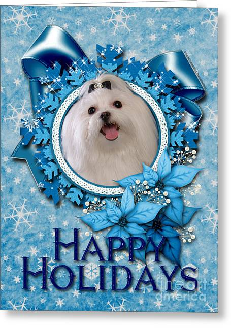 Canine Greeting Cards - Christmas - Blue Snowflakes Maltese Greeting Card by Renae Laughner