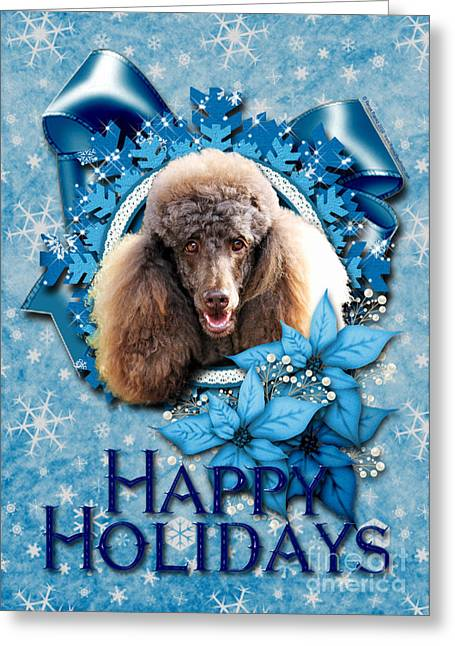 Xmas Greeting Cards - Christmas - Blue Snowflakes Poodle Greeting Card by Renae Laughner