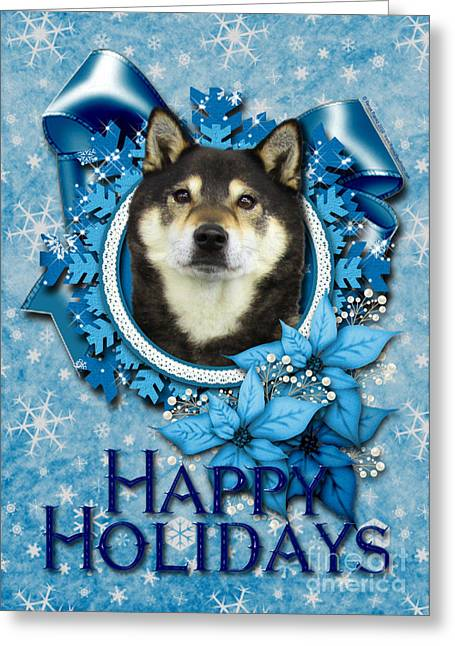 Holiday Greeting Cards - Christmas - Blue Snowflakes Shiba Inu Greeting Card by Renae Laughner