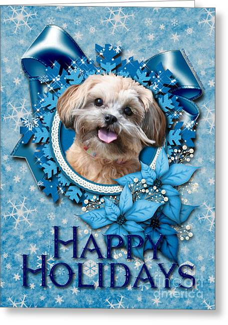 Christmas - Blue Snowflakes Shihpoo Greeting Card by Renae Laughner