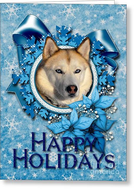 Husky Greeting Cards - Christmas - Blue Snowflakes Siberian Husky Greeting Card by Renae Laughner