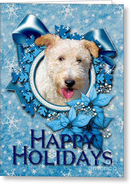 Greetings Greeting Cards - Christmas - Blue Snowflakes Wire Fox Terrier Greeting Card by Renae Laughner
