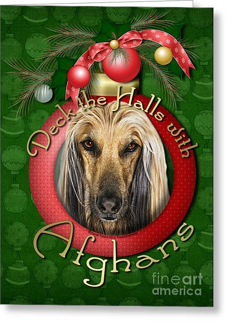 Christmas - Deck The Halls With Afghans Greeting Card by Renae Laughner