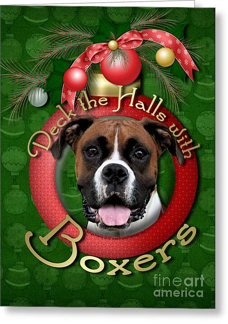 Boxers Greeting Cards - Christmas - Deck the Halls with Boxers Greeting Card by Renae Laughner
