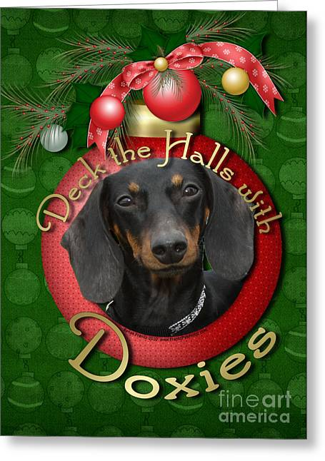 Doxie Greeting Cards - Christmas - Deck the Halls with Doxies Greeting Card by Renae Laughner