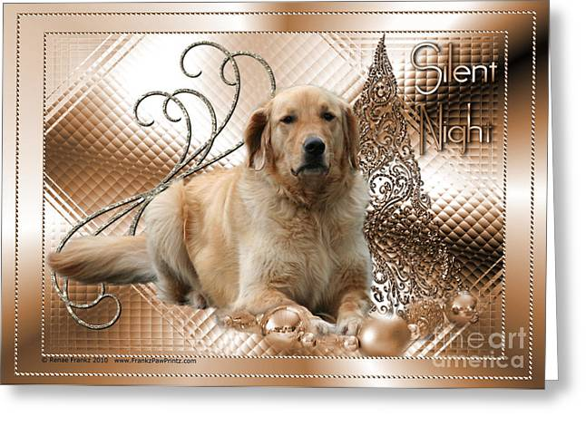 Christmas - Silent Night - Golden Retriever Greeting Card by Renae Laughner