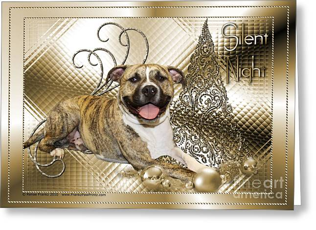 Bullie Greeting Cards - Christmas - Silent Night - Pitbull Greeting Card by Renae Laughner