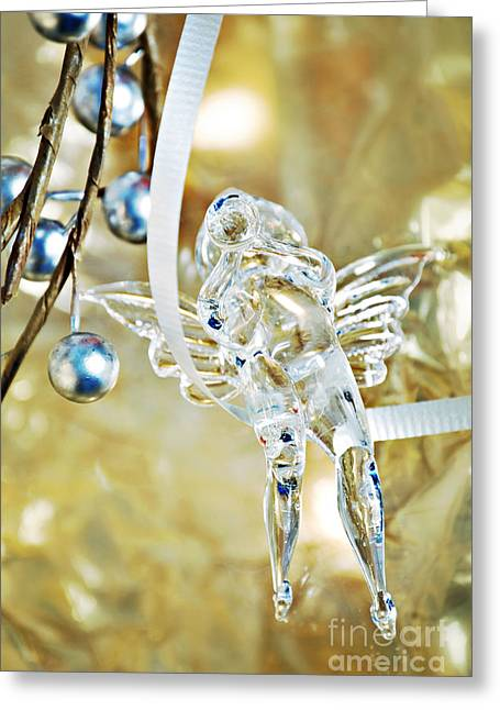 Glasswork Greeting Cards - Christmas Angel Greeting Card by HD Connelly