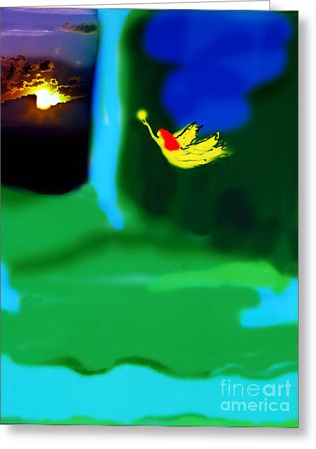 Flying Angel Greeting Cards - Christmas Angel Greeting Card by Madeline Ellis
