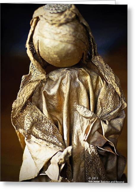 Recently Sold -  - Gold Lame Greeting Cards - Christmas Angel Greeting Card by Vicki Jauron