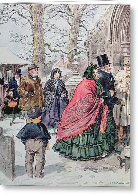 Wintry Greeting Cards - Christmas at Dreamthorpe Greeting Card by Charles Edmund Brock