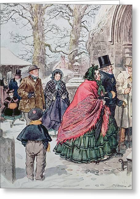 White Smock Greeting Cards - Christmas at Dreamthorpe Greeting Card by Charles Edmund Brock