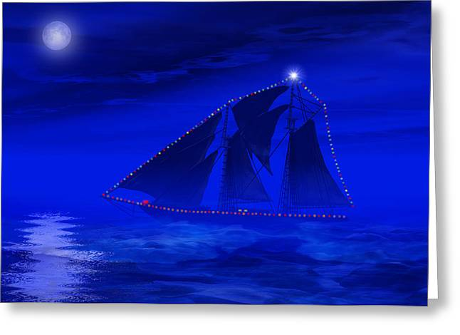 Schooner Greeting Cards - Christmas at Sea Greeting Card by Carol and Mike Werner