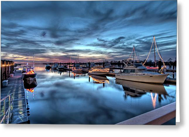 Mike Covington Greeting Cards - Christmas at the Marina Greeting Card by Mike Covington