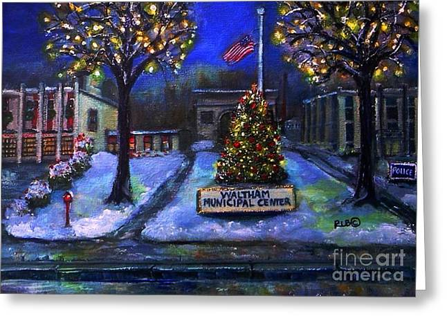Waltham Firehouse Greeting Cards - Christmas at the Municipal Center Greeting Card by Rita Brown