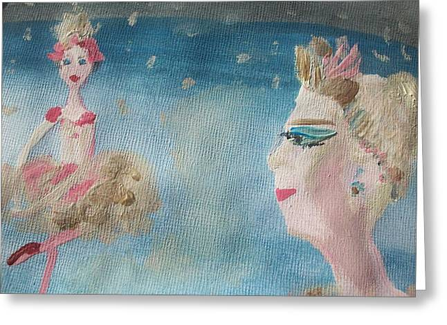 Tiara Paintings Greeting Cards - Christmas ballet in the wings Greeting Card by Judith Desrosiers