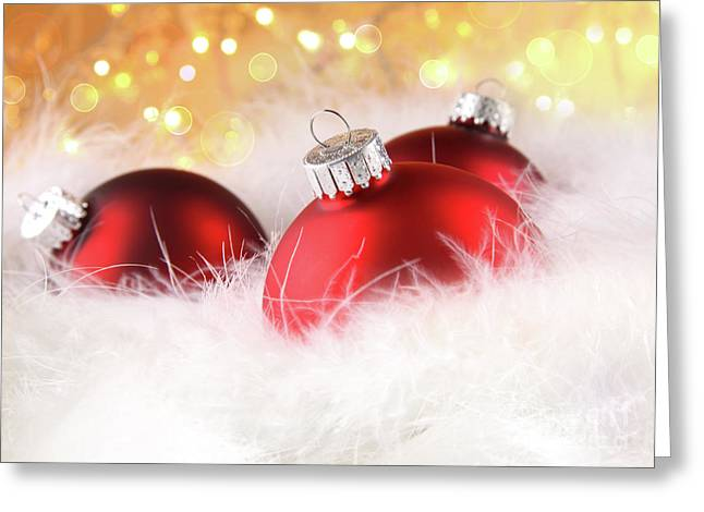 Christmas Balls With Abstract Holiday Background Greeting Card by Sandra Cunningham
