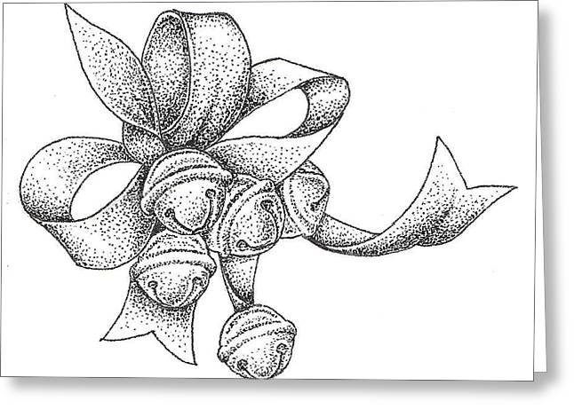 Dot Drawings Greeting Cards - Christmas Bells Greeting Card by Christy Beckwith