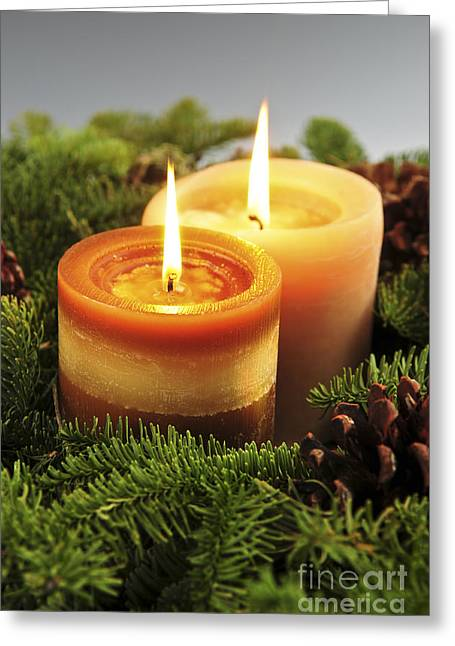 Spruce Cone Greeting Cards - Christmas candles Greeting Card by Elena Elisseeva