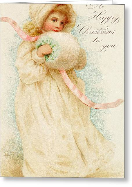 Cutie Greeting Cards - Christmas card depicting a girl with a muff Greeting Card by English School