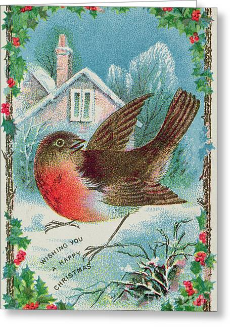 Victorian Greeting Cards - Christmas card depicting a robin  Greeting Card by English School