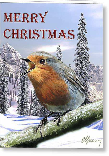 Christmas Card Red Robin Greeting Card by Michael Greenaway