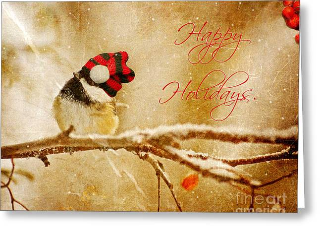 Humorous Greeting Cards Greeting Cards - Christmas Chickadee. Greeting Card by Kelly Nelson
